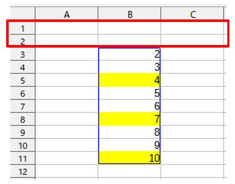 条件付き書式を設定するセルの先頭の行番号が1になるような数値を入力する2